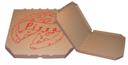 Obrázek z Pizza krabice, 32 cm, hnědo hnědá s potiskem
