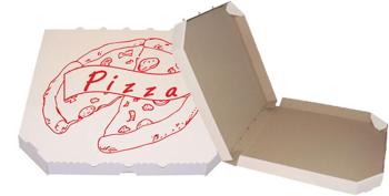 Obrázek Pizza krabice, 32 cm, bílo hnědá s potiskem